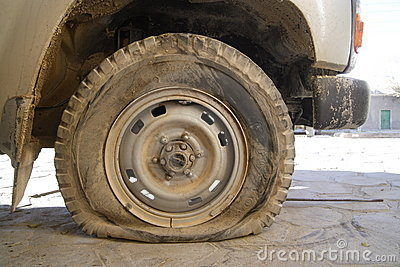 dirty flat tire