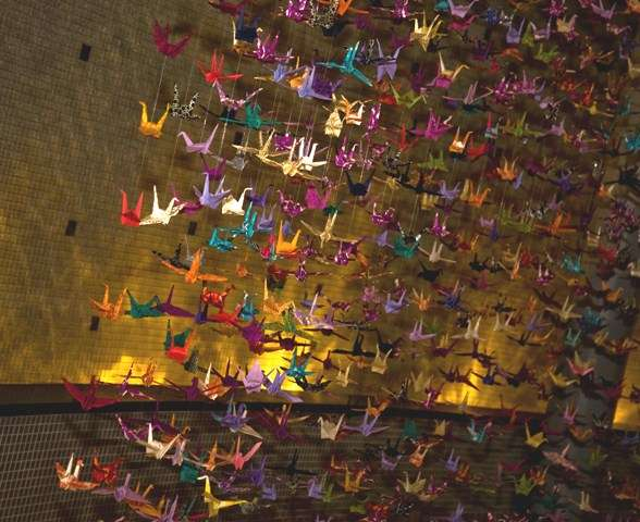 A thousand cranes andthendawnrose for 1000 paper cranes wedding decoration